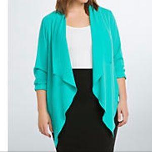 Torrid crepe drape front blazer top turquoise 2X